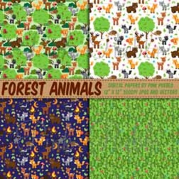 Forest Animal Digital Paper, Forest Animals Scrapbook Paper