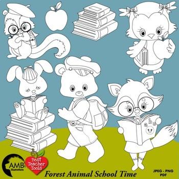 Forest Animal Digital Stamps, Back to School Black Line Clipart, AMB-1056