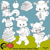 Forest Animal Digital Stamps, Back to School Black Line Clipart, AMB-2337