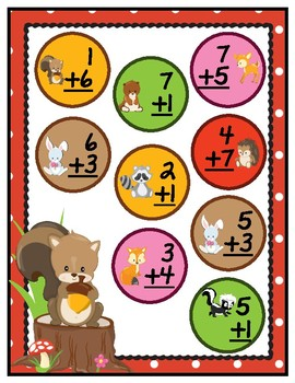 Forest Animal Facts File Folder Game Single Digit Addition to 18