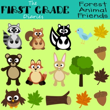 Forest Animal Friends {Digital Clip Art} Bear Owl Fox Rabbit Raccoon Squirrel