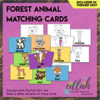 Forest Animal Matching for Pocket Charts