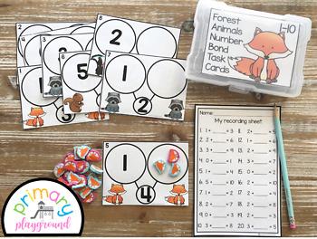 Forest Animal Number Bond Task Cards 1-10 Center