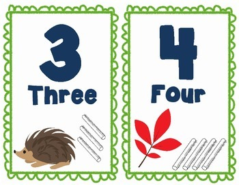 Forest Animal Number Posters #'s 1-100