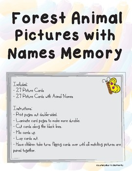 Forest Animal Pictures with Names Memory