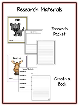 Forest Animal Research Project - 14 Types, Vocab Cards, Packet, Book  + More!