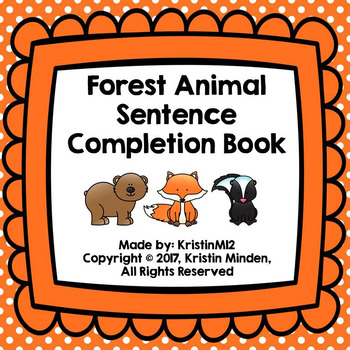 Forest Animal Sentence Completion Book