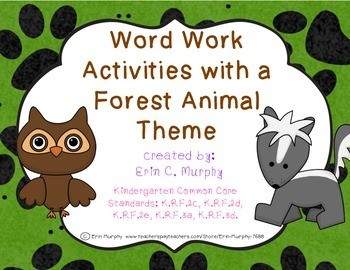 Forest Animal-Themed Word Work Activities