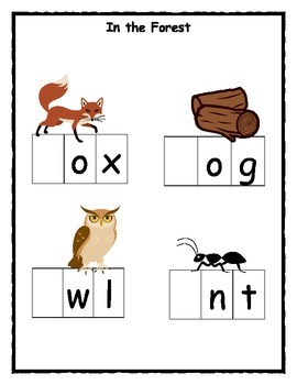 Forest Animal Word Work Mats