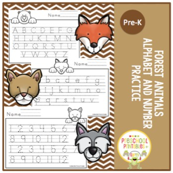 Forest Animals Alphabet and Number Practice (No Prep)