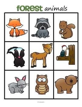Forest Animals Bingo for Preschool and Pre-K
