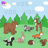 Forest Animals Clip Art : Color and Line Illustrations