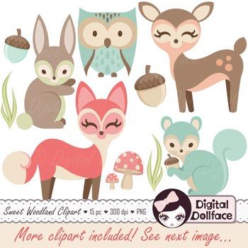 Forest Animals Clip Art / Fox, Deer, Owl, Squirrel, Bunny Images