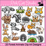 Woodland Forest Animals Clip Art: fox, skunk, deer, rabbit, groundhog, raccoon