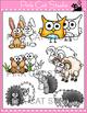 Woodland Forest Animals Clip Art: fox, skunk, deer, rabbit, groundhog, raccoon