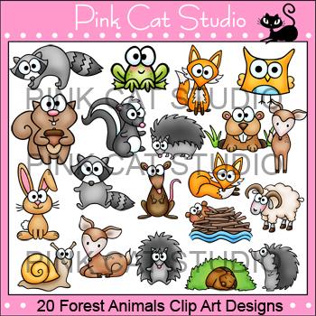Woodland Forest Animals Clip Art: fox, skunk, deer, rabbit