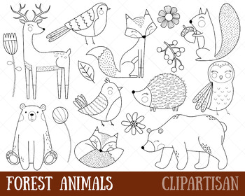 Forest Animals Clip Art, Woodland Coloring Activity