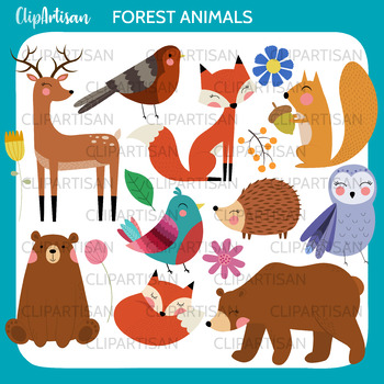 Forest Animals Clip Art, Woodland Animals Printable