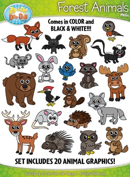 Forest Animals Clipart Set — Includes 40 Graphics!
