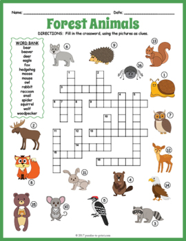 forest animals crossword puzzle by puzzles to print tpt. Black Bedroom Furniture Sets. Home Design Ideas