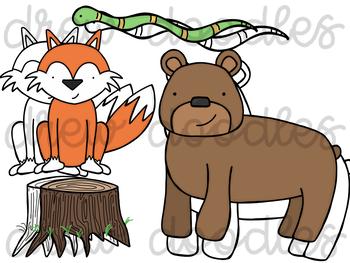 Forest Animals Digital Clip Art Set- Color and Black Line COMBO