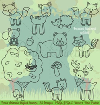 Forest Animals Digital Stamps, Forest Animal Clip Art, Forest Animals Clipart