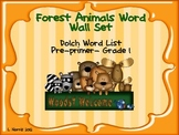 Forest Animals Dolch Word Wall Set and Sight Word Coloring Book