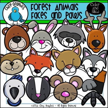 Forest Animals Faces and Paws Clip Art - Chirp Graphics