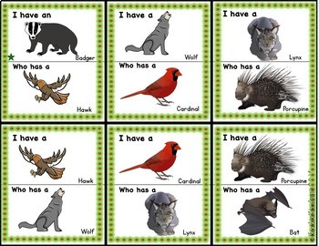 Forest Animals: I Have, Who Has Game and Vocabulary Cards
