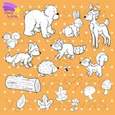 Forest Animals Line Clip Art