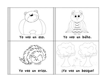 Forest Animals Mini Books (English and Spanish)-Libritos de animales del bosque