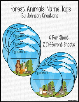 Forest Animals Name Tags