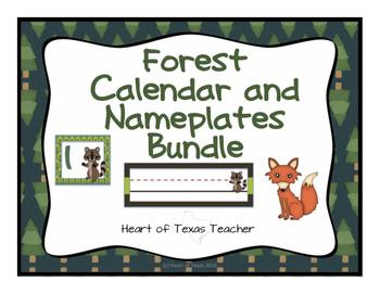 Forest Animals Nameplates and Calendar Bundle