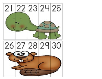 Forest Animals - Number Order Puzzles