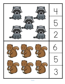 Forest Animals Count and Clip Cards