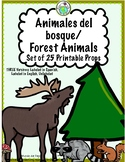 Forest Animals Printable Props Three Versions Spanish, Eng