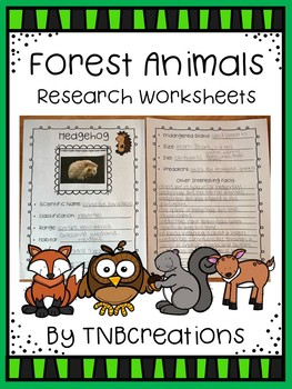 Forest Animals Research Worksheets