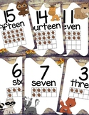 Forest Animals Classroom Decor Numbers Posters 1 to 20