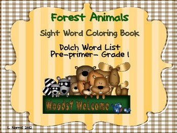 Forest Animals Sight Word Coloring Book