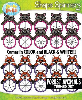 Forest Animals Spinner Shapes Clipart {Zip-A-Dee-Doo-Dah Designs}