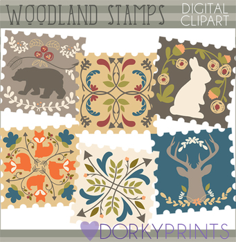 Forest Animals Stamps Clipart
