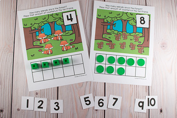 Forest Animals Ten Frame Game  (Pre-K + K Math)