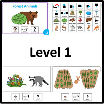 Forest Animals WHO, WHERE, WHAT? Adapted book preposition Level 1, 2 and 3