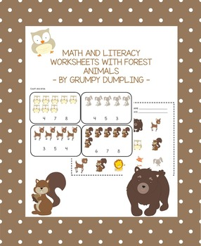 Forest Animals - No Prep Worksheets for Math and Literacy Centers