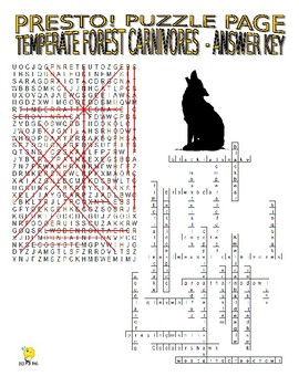 Forest Carnivores Puzzle Page (Wordsearch and Criss-Cross)
