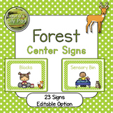 Forest Centers Signs for Preschool, PreK or Kindergarten