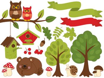 Forest Clipart - Digital Vector Forest, Bear, Owl, Mushroom, Nature Clip Art