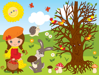Forest Clipart - Digital Vector Forest, Woodland, Girl, Ra