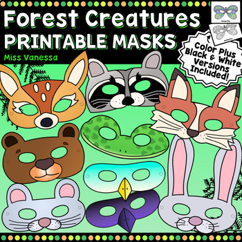 Forest Creature Masks ~ Animals & Insects Masks for Dramatic Play ~ Color + B&W
