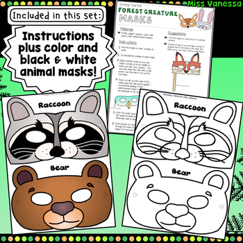 Printable Forest Animal Masks for Dramatic Play